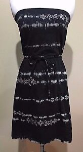 NWT-Women-039-s-Black-Print-Strapless-Mossimo-Dress-Small