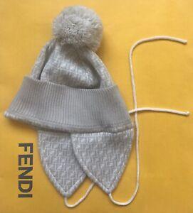 6c5e4ddb399 Fendi Contrast Beige Macro FF Unisex Wool Hat with Pompom Detail ...