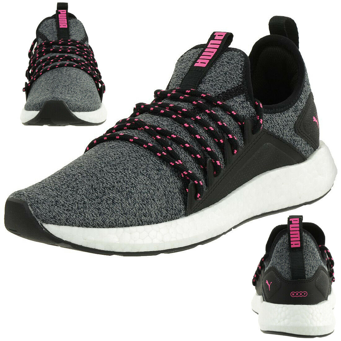 Puma Nrgy Neko Knit Wns Ladies Fitness Trainers Black Pink 191477 01