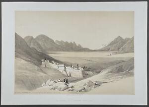 David Roberts - St. Catherine, Mount Sinai. 113, 1849 Folio Duotone Lithograph