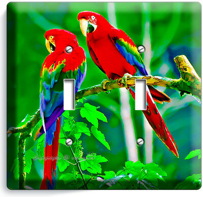 Tropical Macaw Parrots Love Birds 2 Gang Light Switch Wall Plate Room Home Decor Ebay