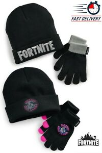 NWT Licensed UNISEX Kid's FORTNITE Logo LLAMA Winter Beanie Hat & Gloves Set