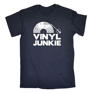 Vinyl-Junkie-White-Logo-T-SHIRT-Tee-Music-Vintage-Dj-Funny-birthday-fashion-gift