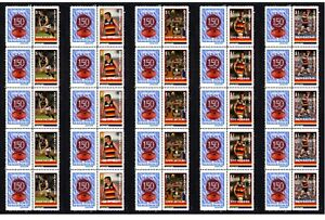 ADELAIDE-CROWS-SET-OF-5-150th-FOOTBALL-STRIPS-OF-10-MINT-VIGNETTE-STAMPS