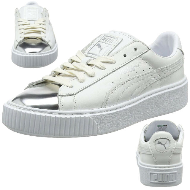 ae04ce5dd7c Puma Basket Platform Metallic Sneaker Women s Girls  Shoes 366169 01