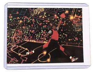 RARE! MJ Michael Jordan JUMPMAN Neon AIR JORDAN Basketball Promo Card Bulls 23