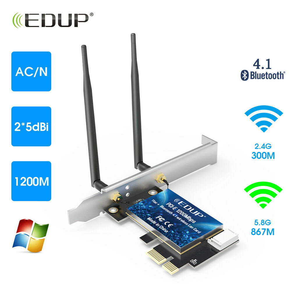 Wireless Adapter Network Card with 2/×6dBi External Antenna for Desktop EDUP WiFi Card AC1200Mbps 2.4GHz//5GHz Dual Band PCI Express PCIe
