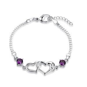 Women-925-Sterling-Silver-Filled-Love-Heart-Crystal-Charm-Bracelet-Chain-Gift