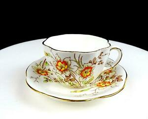 "TAYLOR & KENT LONGTON ENGLAND #6736 YELLOW ORANGE FLOWERS 2 3/8"" CUP AND SAUCER"