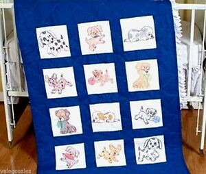 Jack-Dempsey-Stamped-Embroidery-Kit-PUPPIES-Quilt-Blocks-9-034-Set-of-12-300-24