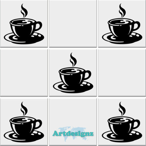 COFFEE CUP Tile Stickers Kitchen Sticker Cups Vinyl Wall Art Transfer Decal AD*9