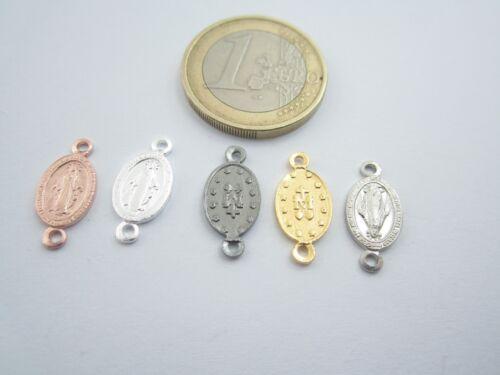 medaglietta madonnina 2 fori per i rosari in argento 925 placcato oro G16,5x8 mm