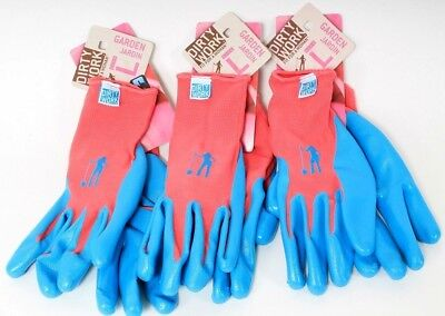 3 Pairs of Dirty Work Pink /& Blue Garden Gloves for Women Size Large