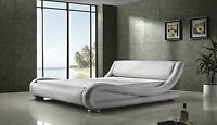 White Large Bed Frame Faux Leather Size Double Extra Sturdy Luxury Glamour Comfy