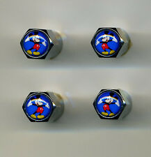 Mickey Mouse 4 Chrome Plated Brass Tire Valve Caps Car or Bike Mickey Mouse