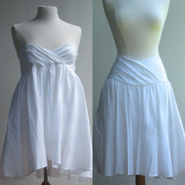 Diane von Furstenberg DVF Dress Skirt Blouse Top White Cotton Fully Pleated 8
