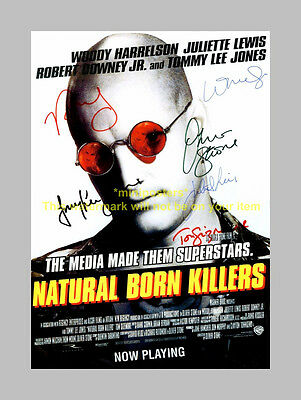 NATURAL BORN KILLERS CASTX6 PP SIGNED POSTER 12X8 WOODY
