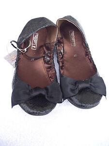 BNWT-Ladies-Sz-5-Rivers-Black-Snake-Skin-Look-Ballet-Flat-Style-Shoes-RRP-60