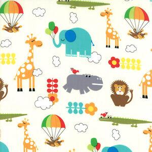 Bungle-Jungle-Fabric-Elephant-Giraffe-Lion-Monkey-Animal-Novelty-Cotton-Fabrics