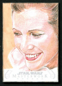 2020 Topps Star Wars Masterwork Princess Leia Artist Lindsey Greyling Sketch 1/1