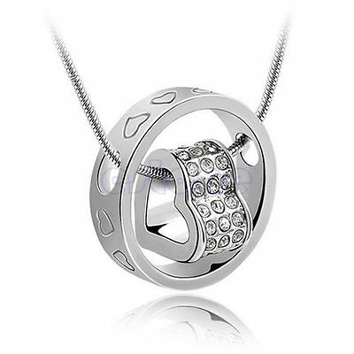 Heart Ring Pendant Crystal Rhinestone Necklace Love Xmas Gift For Wife Daughter