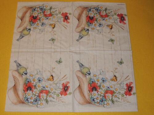 5 servilletas sombrero verano 1//4 serviettentechnik flores pájaros mariposas madera