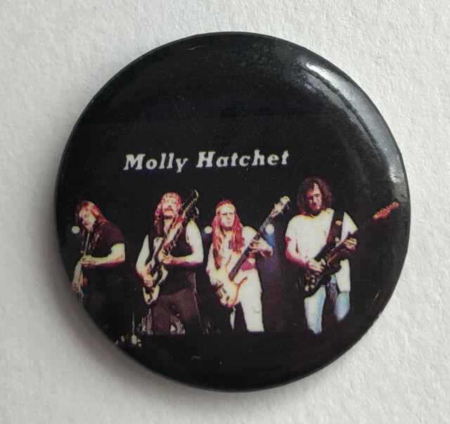RARE Vintage 1983 MOLLY HATCHET No Guts Glory button pin Southern Rock badge