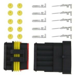 5-x-Set-5-Pin-Male-Connector-Waterproof-Vehicle-Boat-Supplies-SS