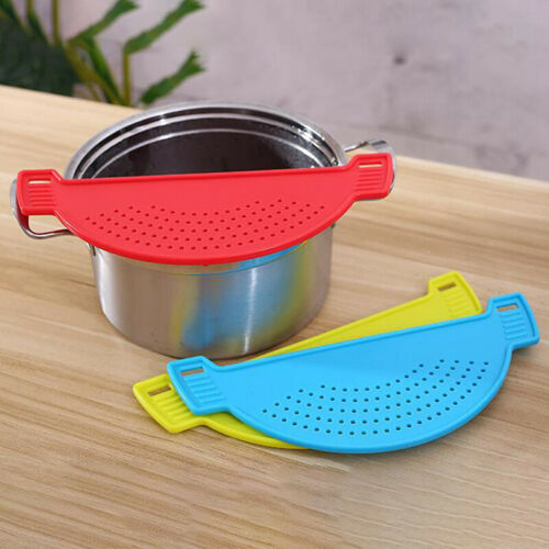 Kitchen Accessories Drain Basket Wash Rice Filter Baffle For Pot Side Drainer/_ti