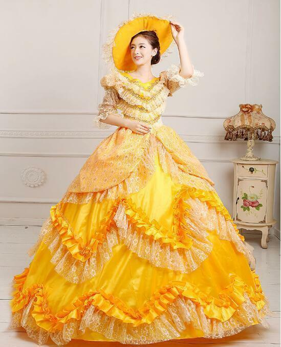 Sexy Lady Victorian Gothic Period Ball Gown Theare Yellow Stage zipper dress