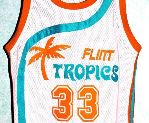 SEMI PRO MOVIE JERSEY MOON WHITE NEW ANY SIZE CUSTOM ANY NAME # FLINT TROPICS