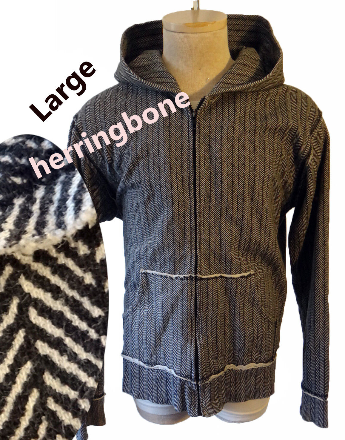 Herringbone hoodie Large USA Grau deconstructed print Anzevino And Florence gym