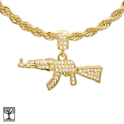 metaltree98 Rapper Gold Plated Henny Sign Pendant 24 in Miami Cuban Chain Necklace MCP 1299 G