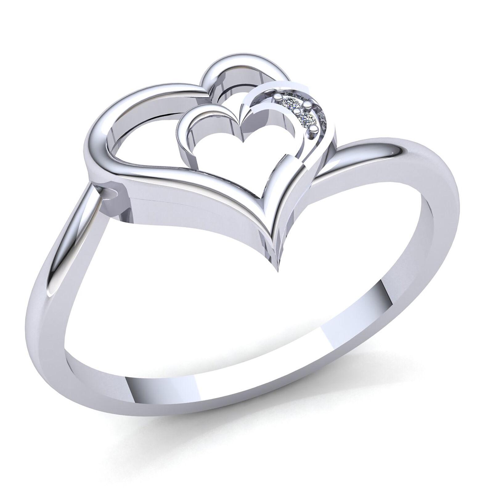 f46c5ca2a61 Genuine 0.01ct Round Cut Diamond Ladies Double Heart Anniversary Ring 18K  gold nwcktj5978-Diamond