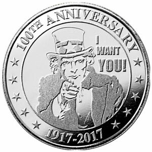 Uncle-Sam-I-WANT-YOU-1917-2017-100th-Anniversary-1-oz-999-Silver-IN-CAPSULE