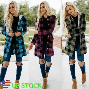 Women-Plaid-Check-Button-Hoodie-Jacket-Coat-Fall-Longline-Loose-Candigan-Outwear