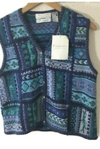 Portraits-Northern-Isles-Women-039-s-Hand-Embroidered-Sweater-Vest-Blue-Floral-Sz-M