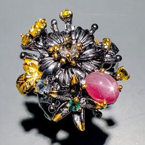 Star Ruby Ring Silver 925 Sterling Handmade8x6mm Size 7.25 /R129953