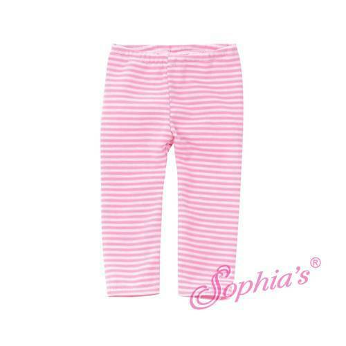 451cc6d4d18376 Light Pink & White Striped Leggings Tights Pants Fit 18