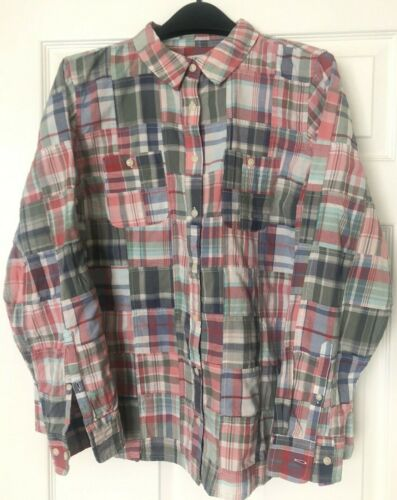 LL Bean Women's Large Patchwork Madras Button Up … - image 1