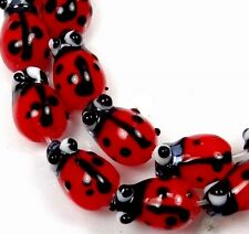 10 Tiny Lampwork Glass Ladybug Beads 12x8mm