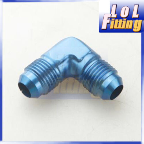 - 6 AN to AN 6 90 Degree Flare Union Fuel Fitting Adapter Male Blue AN6