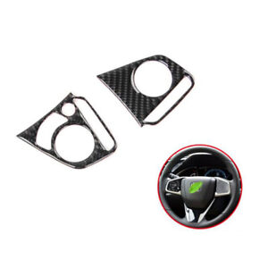 2016-2018-For-Honda-Civic-10th-2PCS-Carbon-Fiber-Inner-Steering-Wheel-Cover-Trim