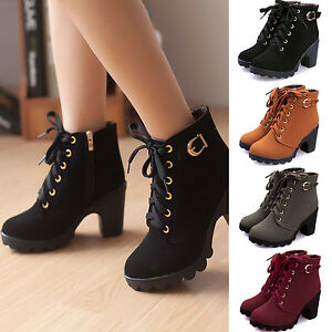 Cool Fashion Women Ankle Boots High Heels Lace Up Snow Boots