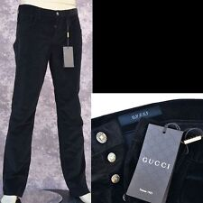 GUCCI New sz 48 - 32 Authentic Designer Mens Logo Pants Jeans black corduroy