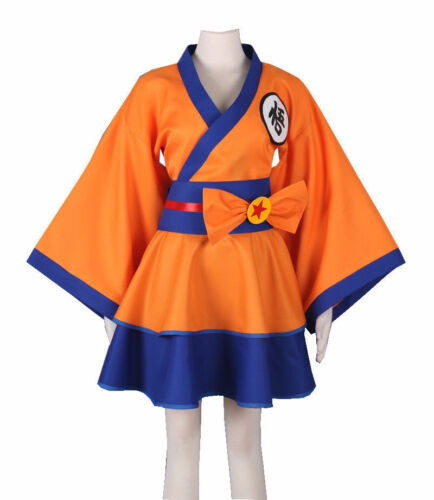 Anime Dragonball Z Kimono Dress Womens Son Goku GO Kakarotto Cosplay Costume