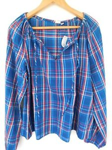 NWT-GAP-Women-039-s-Long-Sleeve-Raglan-Top-Shirt-Plaid-XS-S-M-L-Free-Shipping-NEW