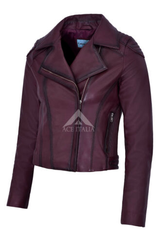 Donna Giacca in Pelle Stile Biker Moto Cherry Smart Fit reale Napa 4245