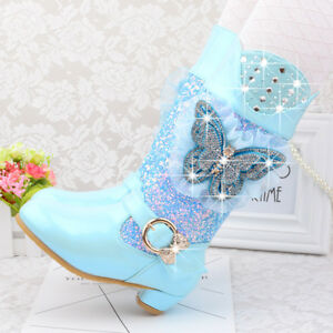 stay real Girls Princess High-Heeled Snow Boots Mid Calf Glitter Sequins Party Shoes