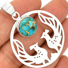 Peacock - Copper Blue Turquoise 925 Sterling Silver Pendant Jewelry PP2056